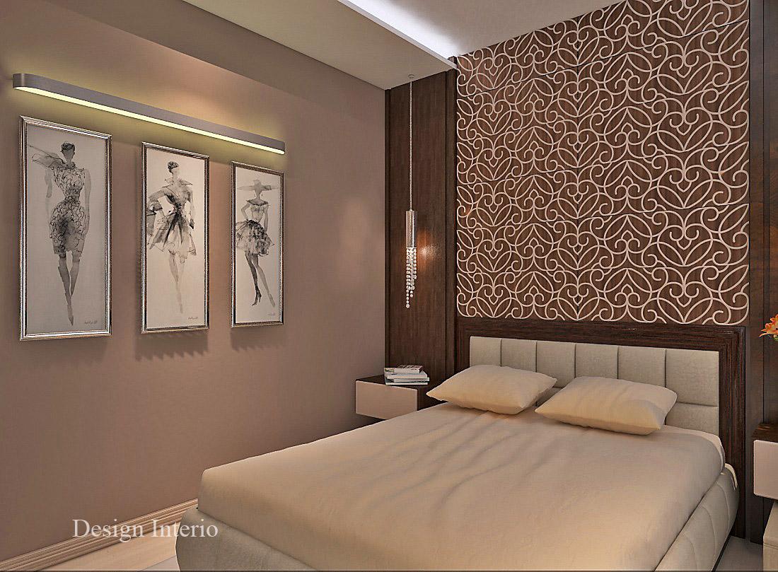 Вторая спальня расположилась рядом. Площадь — 17 кв. м. В оформлении использовано деревянное панно с лазерной гравировкой.