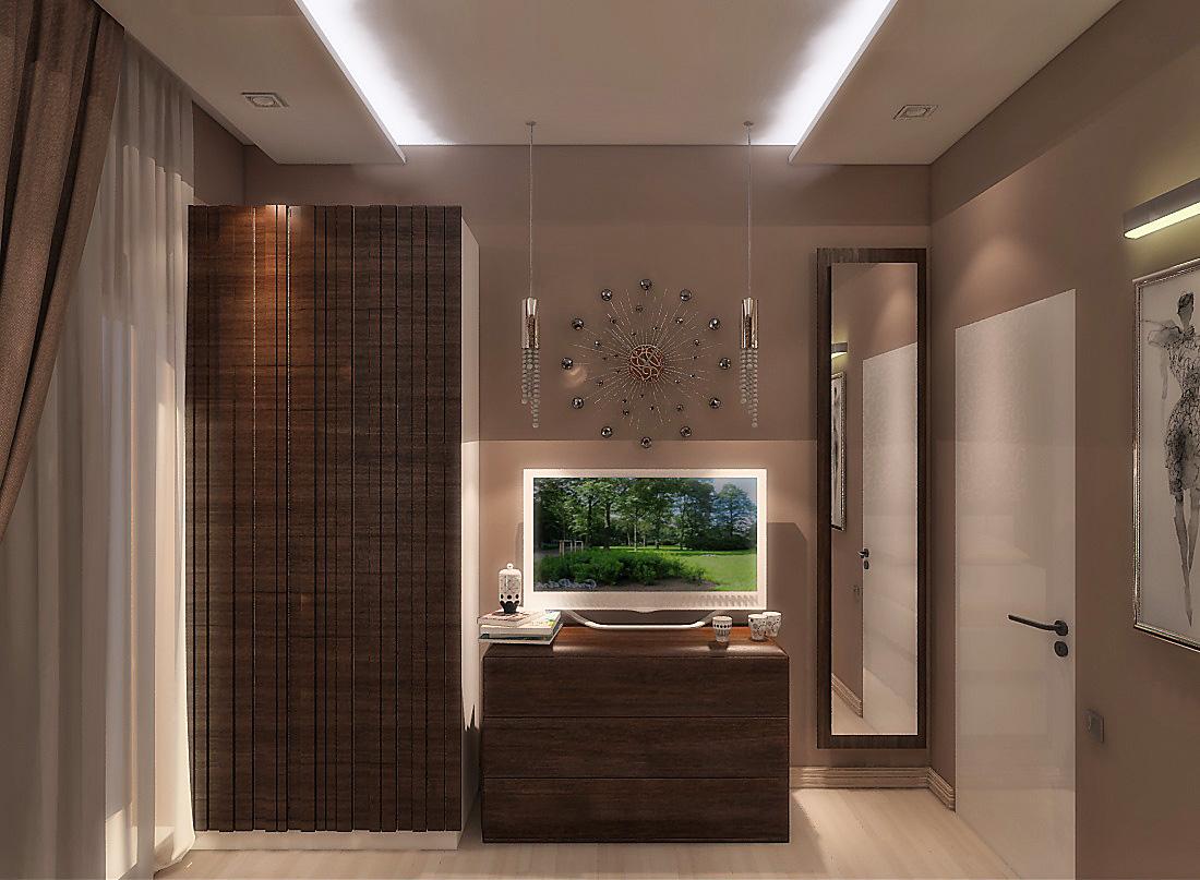 Из мебели в спальне использовали тумбу для телевизора, шкаф гардеробный, кровать и две тумбочки.