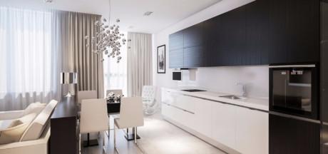 Кухня/столовая в  цветах:   Коричневый, Светло-серый, Серый, Темно-коричневый.  Кухня/столовая в  стиле:   Неоклассика.
