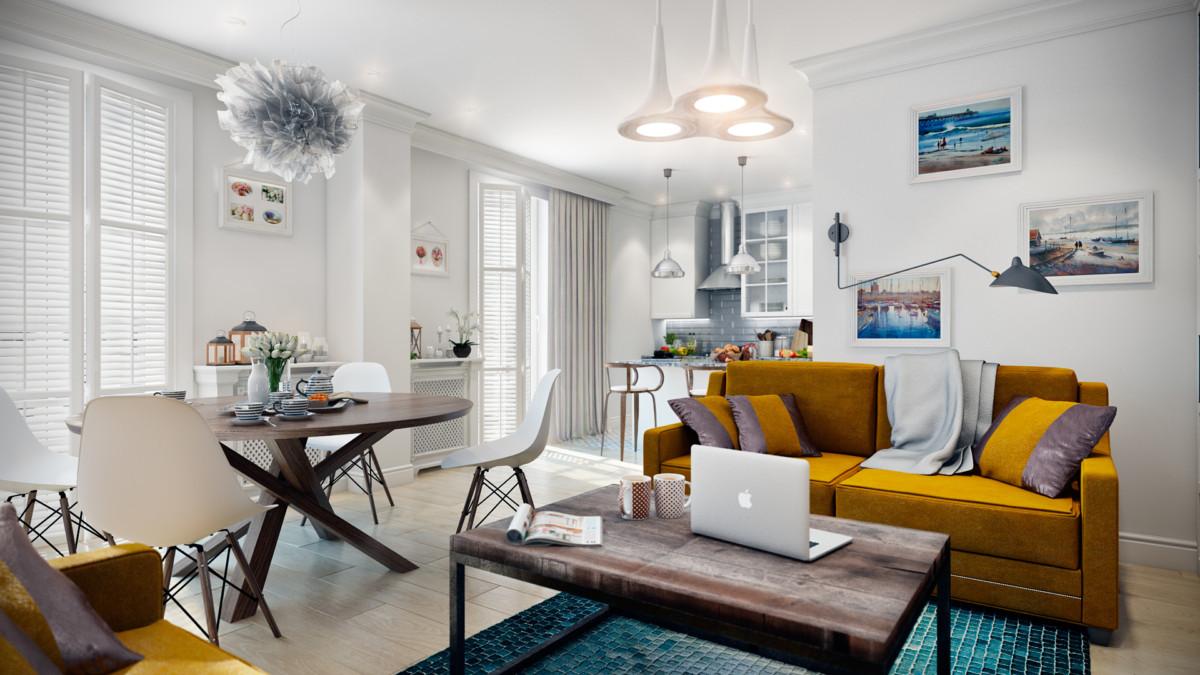 интерьер гостиной, совмещенной с кухней