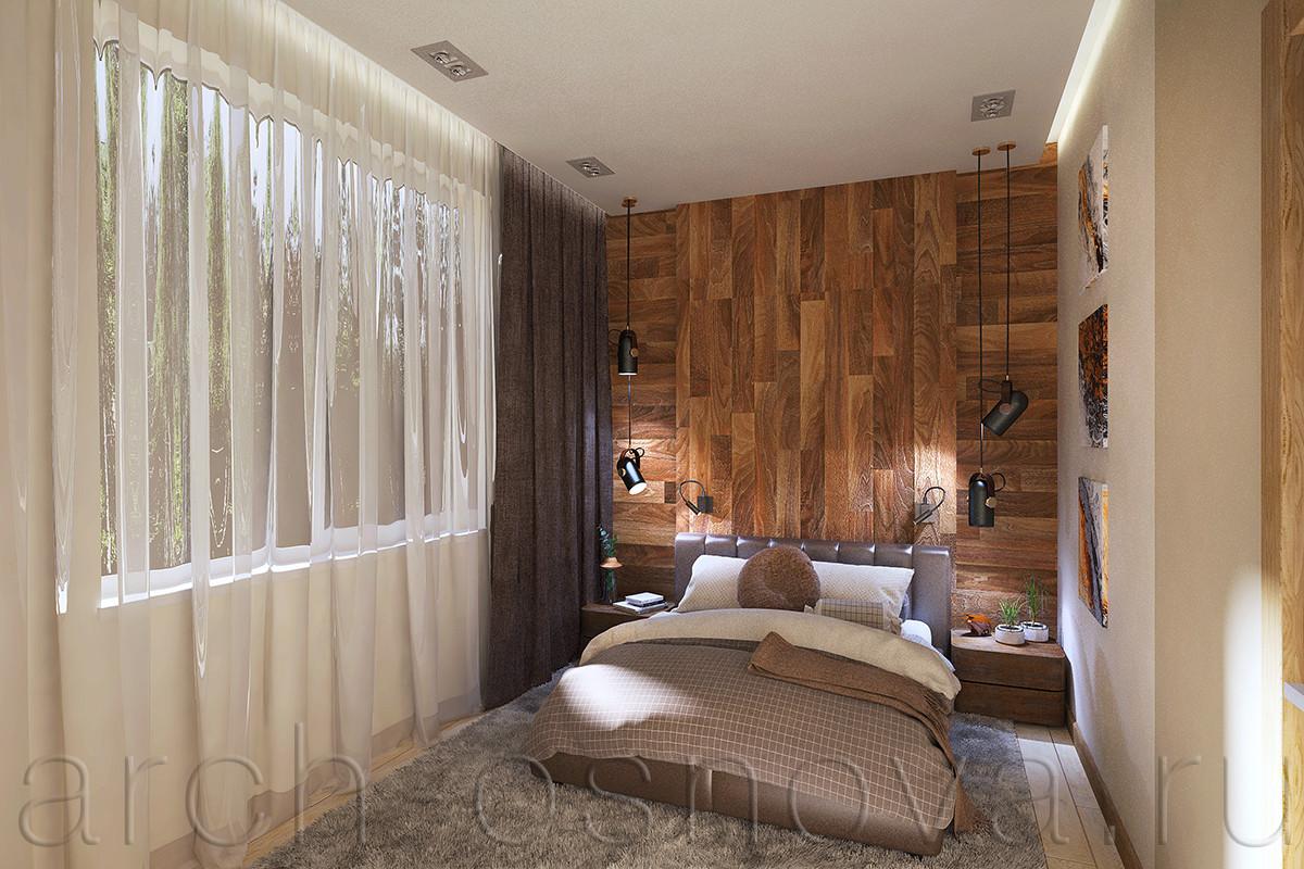 Стильные подвесные светильники с двух сторон от изголовья кровати создают направленные пучки света, позволяя регулировать степень освещенности в спальне при вечернем сценарии освещения. Для чтения над изголовьем кровати предусмотрены небольшие поворотные настенные светильники направленного света. Скрытая подсветка по периметру потолка позволяет создать мягкое рассеянное освещение.