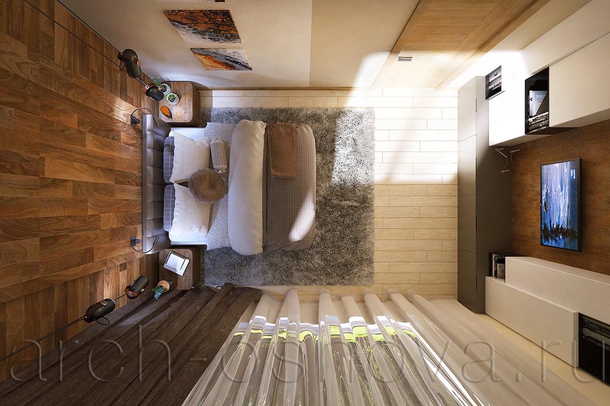 Нейтральный серый оттенок в текстильных элементах (ковер, покрывало, подушки) уравновешивает основную теплую палитру оттенков, выигрышно оттеняя и подчеркивая их. На полу уложена светлая паркетная доска спокойного выбеленного тона.