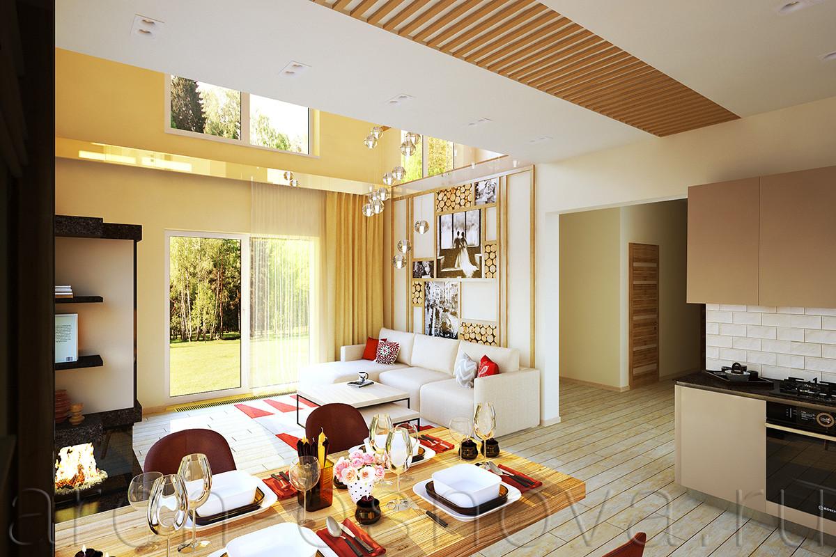 Декоративное панно на стене за диваном разработано индивидуально для этого проекта. Панно выполнено из деревянных реек, с декоративным заполнением из  спилов дерева и постеров с семейными фото.