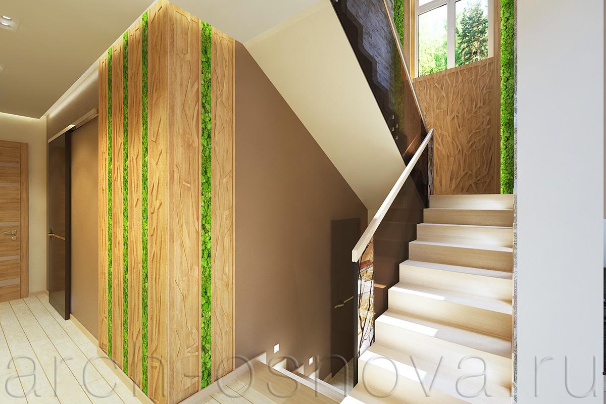 Природная тематика декоративных художественных витражей в лестничном ограждении поддерживается резными деревянными панелями, обрамляющими лестничное окно и образующими панно с натуральным мхом.