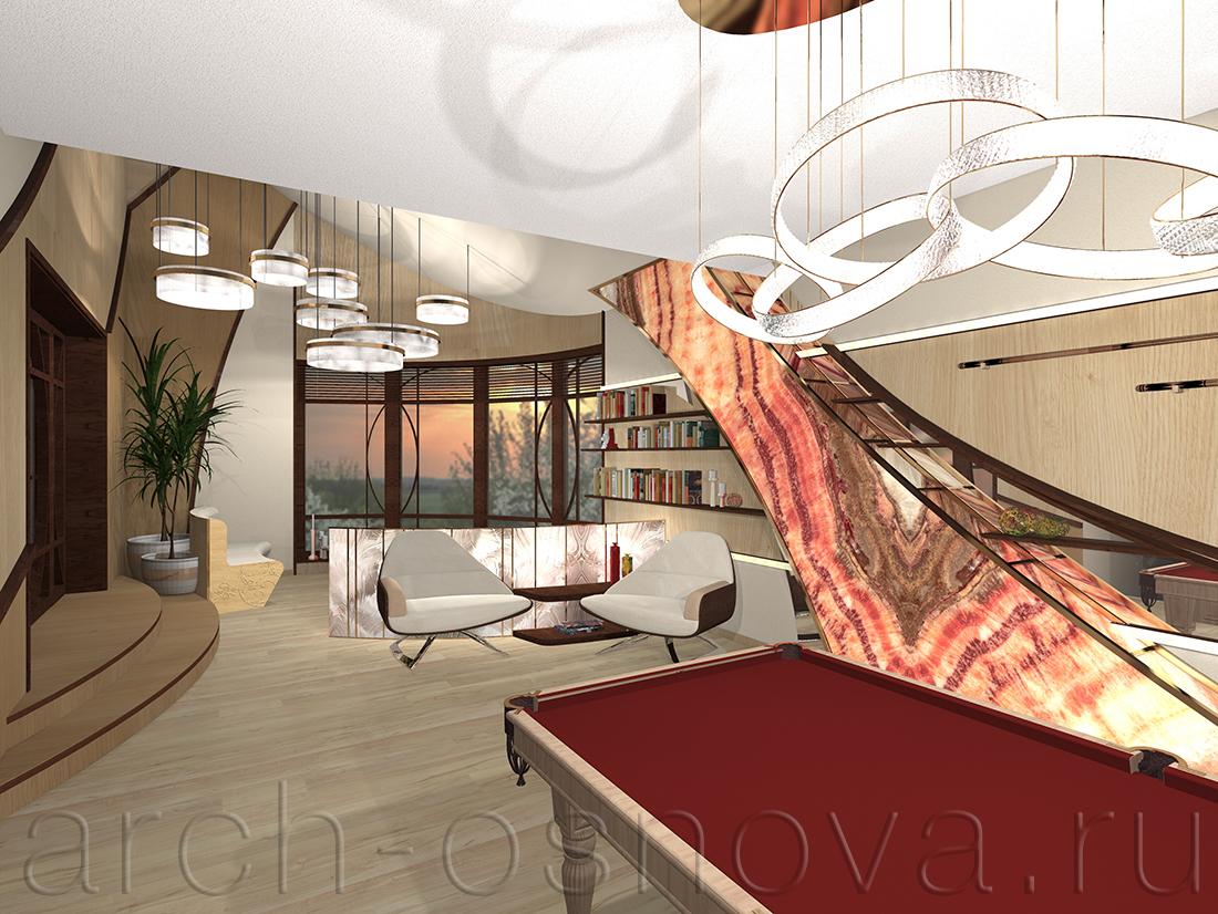 Элегантные подвесные светильники создают мягкое комфортное освещение комнаты отдыха. Для панорамных окон была разработана изящная графика перелетов. Аксессуары для бильярда собраны в единую композицию