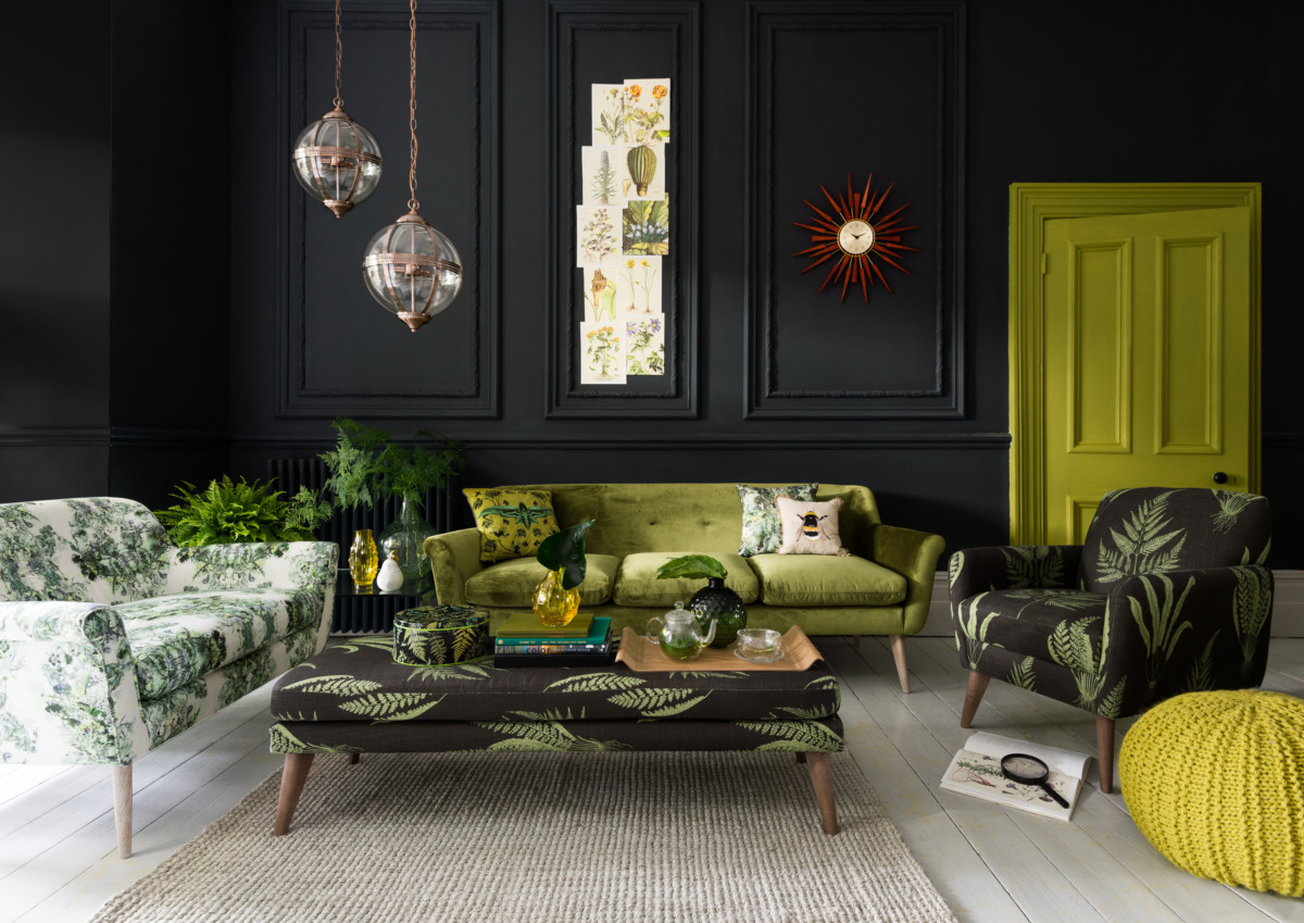 Гостиная в  цветах:   Бежевый, Зеленый, Лимонный, Серый, Темно-зеленый.  Гостиная в  стиле:   Эклектика.