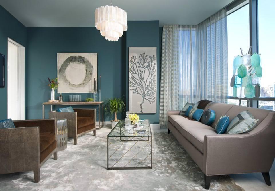 Гостиная в  цветах:   Бирюзовый, Светло-серый, Синий.  Гостиная в  стиле:   Минимализм.