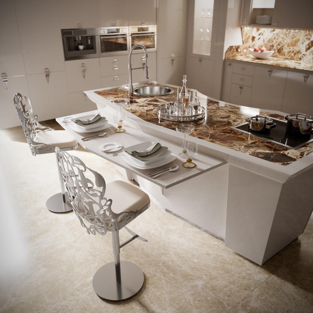 Кухня/столовая в  цветах:   Бежевый, Коричневый, Светло-серый, Темно-коричневый.  Кухня/столовая в  стиле:   Арт-деко.