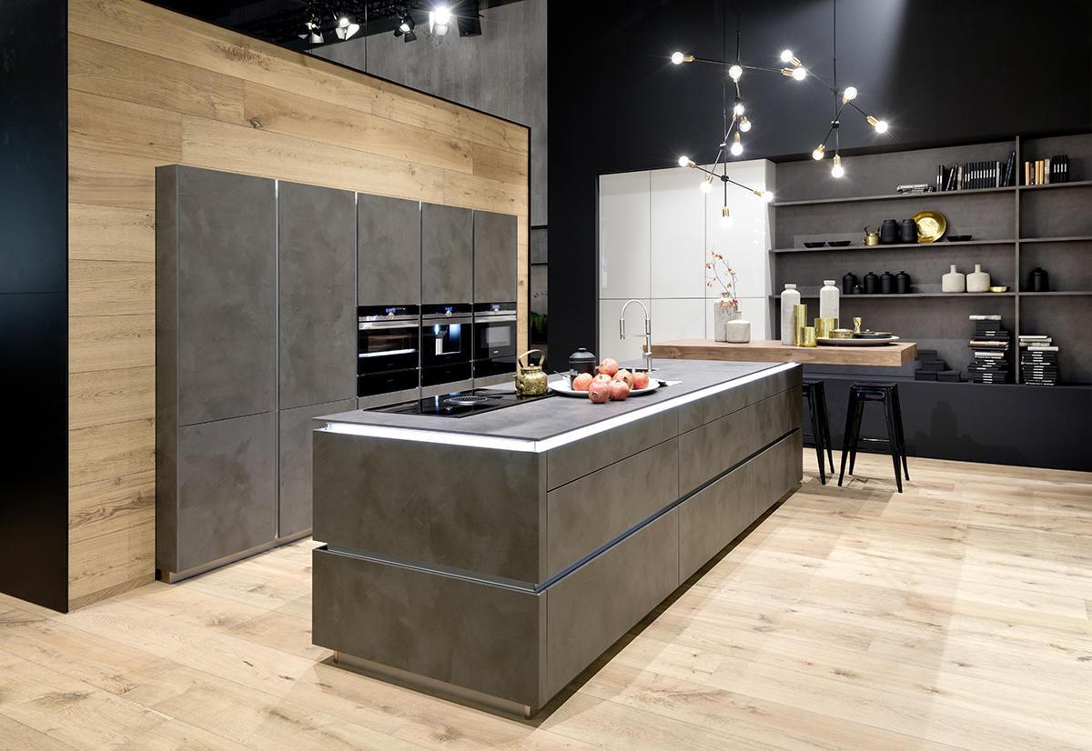 Кухня/столовая в  цветах:   Бежевый, Светло-серый, Темно-коричневый.  Кухня/столовая в  стиле:   Минимализм.