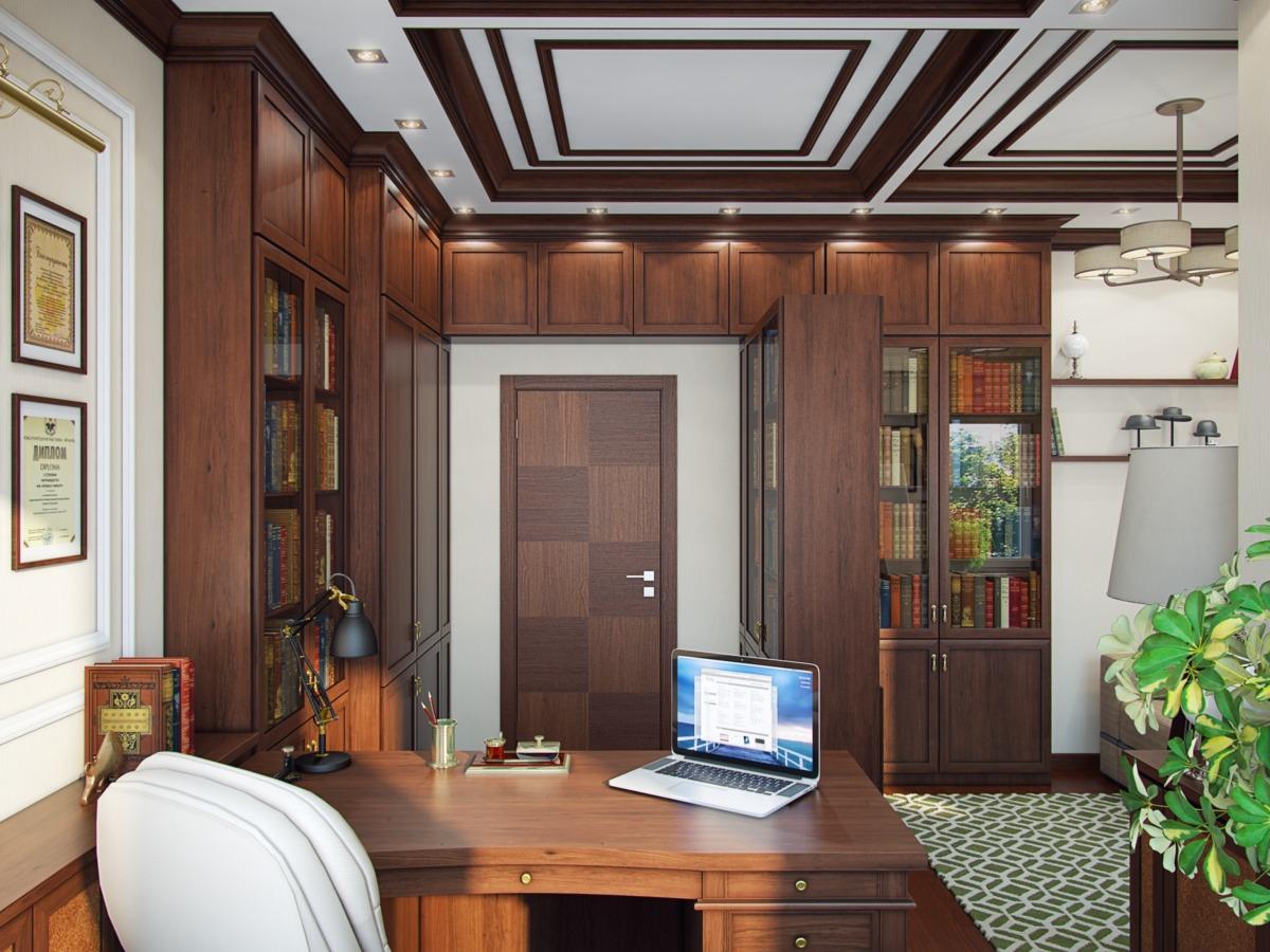 В кабинете расположена большая библиотека с редкими книгами, которые глава семьи собирает со времён студенчества.