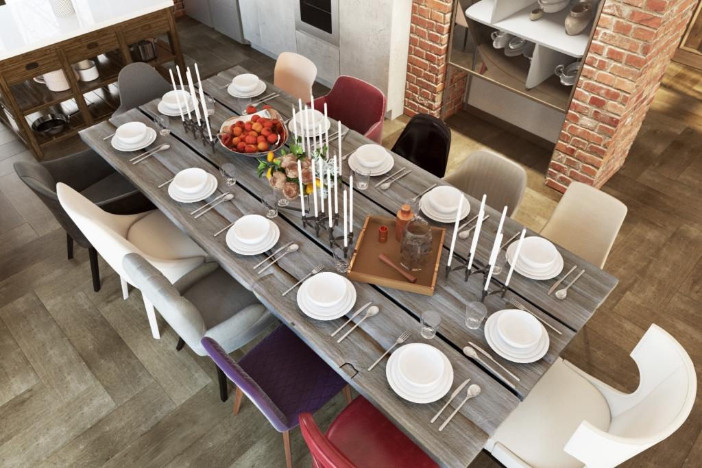 Большой обеденный стол — неотъемлемый предмет для большой семьи. В нашем случае здесь не только можно вольготно разместиться, но и каждому члену семьи уготовлен его персональный стул, отличный от других.