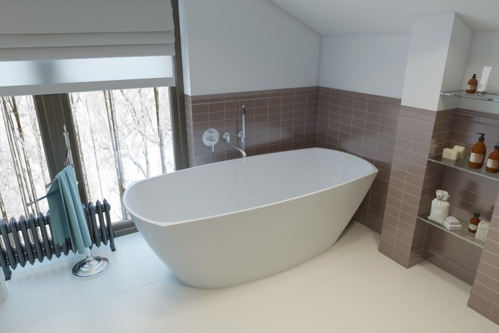 Прекрасный вариант отдельно стоящей овальной ванны — пространство располагает наслаждаться видом из окна, когда вы нежитесь в ней.