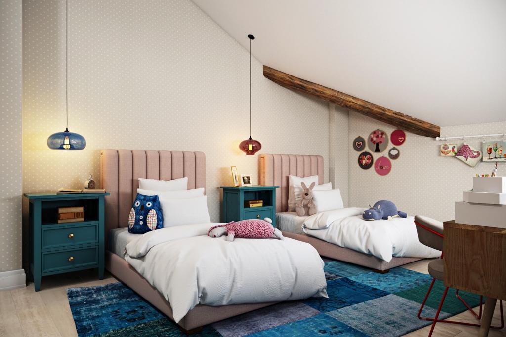 Голубой и розовый всегда на страже детских комнат, но с изменением тенденций розовый стал «пыльной розой», а голубой — ярким оттенком цвета «морской волны».