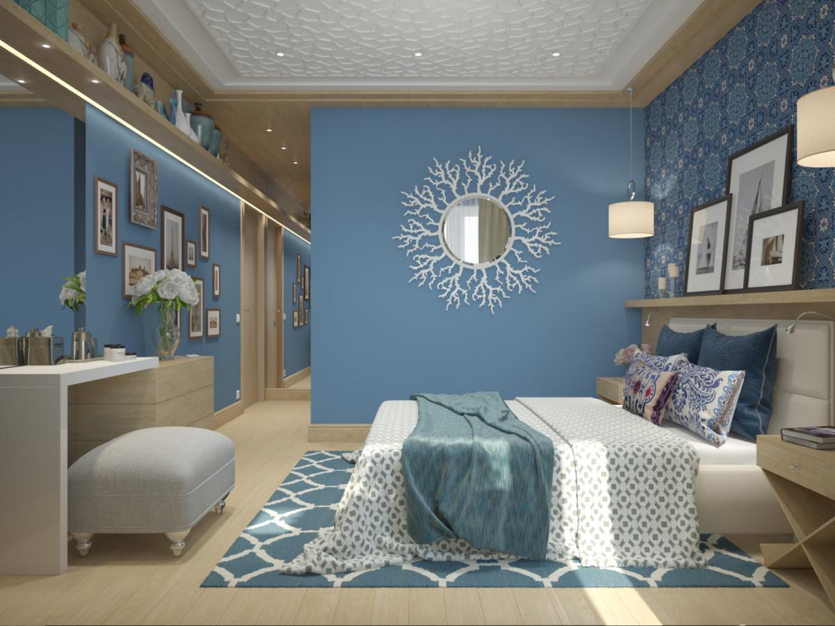 Договорились, что спальня будет в любимых цветовых сочетаниях жены, а кухня и ванная комната — мужа, гостиная будет нейтральной, в бежевых тонах и с кирпичом.