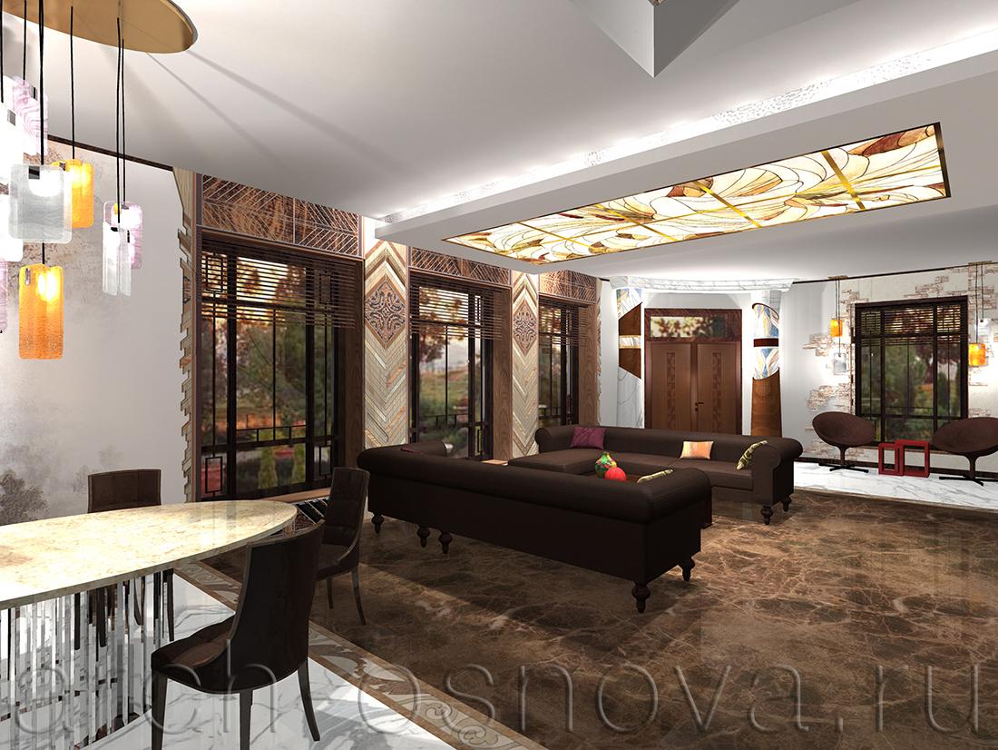 Интерьер комфортной гостиной выдержан в тёплой цветовой гамме бежевых и коричневых оттенков. Панорамные окна, выходящие в сад, обрамлены декоративным панно из разных пород натуральной древесины.