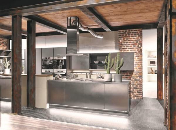 Кухня/столовая в  цветах:   Коричневый, Оранжевый, Розовый, Светло-серый, Темно-коричневый.  Кухня/столовая в  стиле:   Лофт.