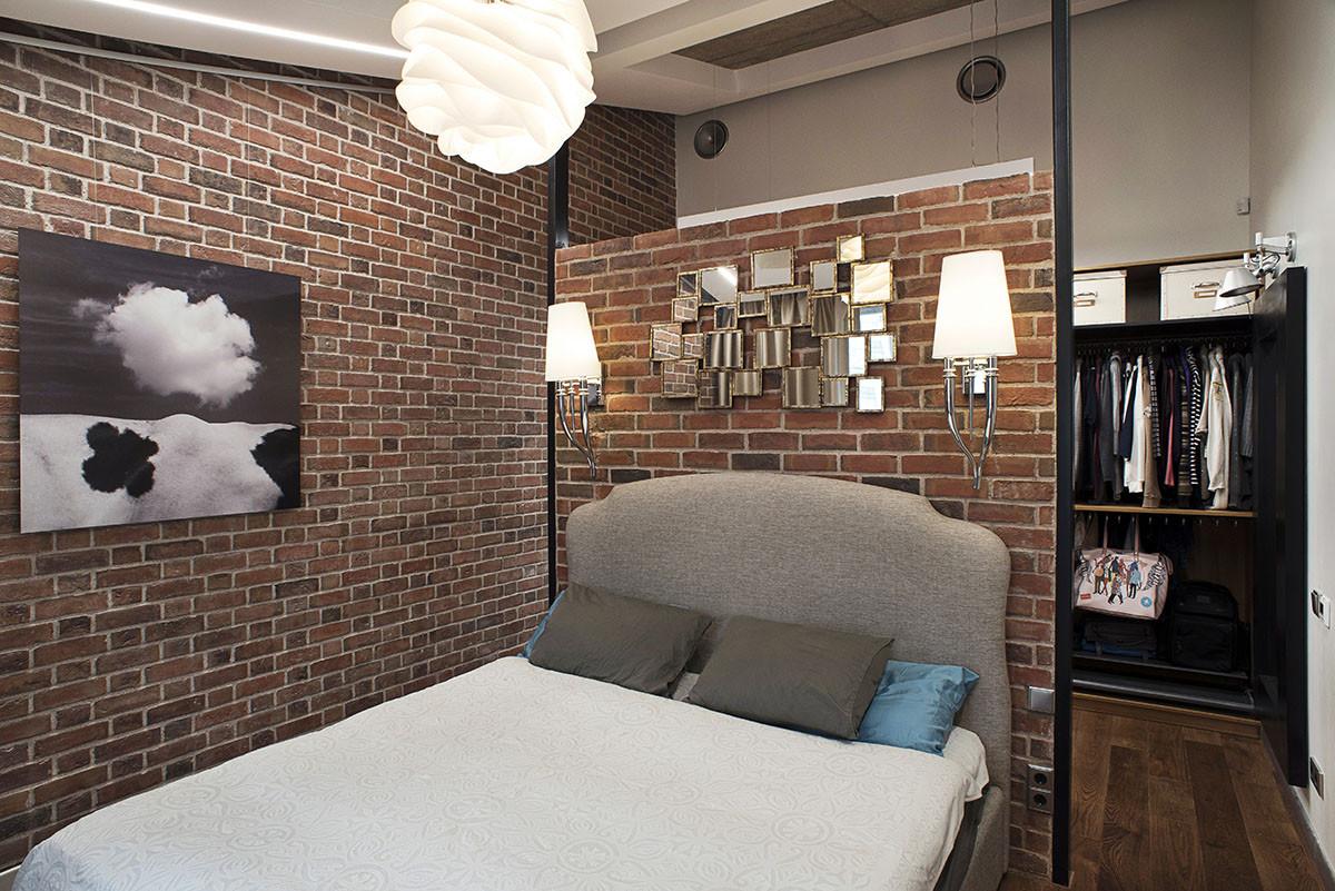 Спальня в  цветах:   Бежевый, Коричневый, Светло-серый, Темно-коричневый.  Спальня в  стиле:   Лофт.