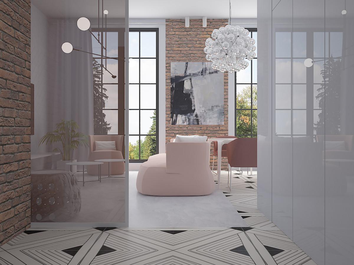 Зону прихожей частично отделяет перегородка с тонированным стеклом. Напольное покрытие, керамическая плитка Ornamenta, переходит в зону кухни- столовой. В зоне отдыха - наливной пол.