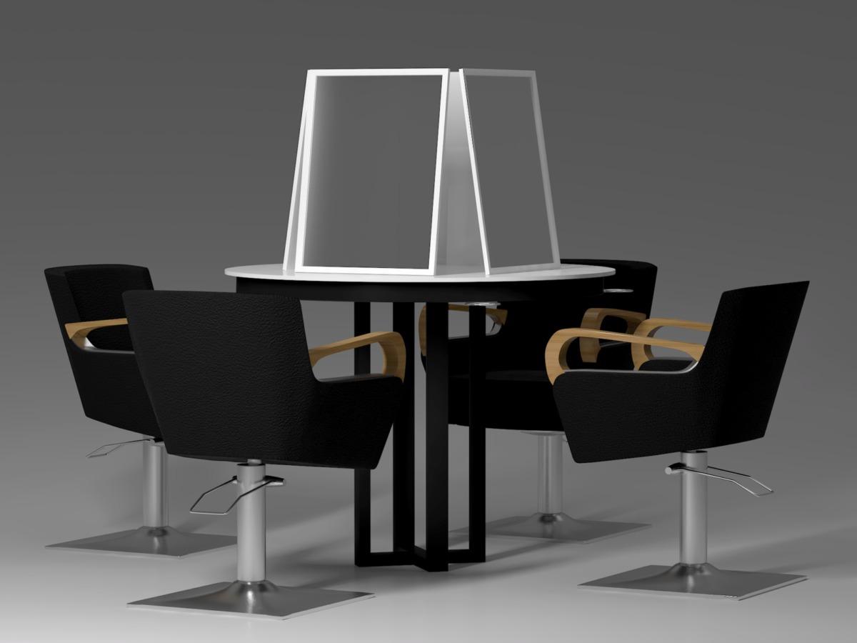 Визуализация композиции рабочего столика, зеркал, специально разработанных для этой композиции, и кресел пр-ва Maletti.