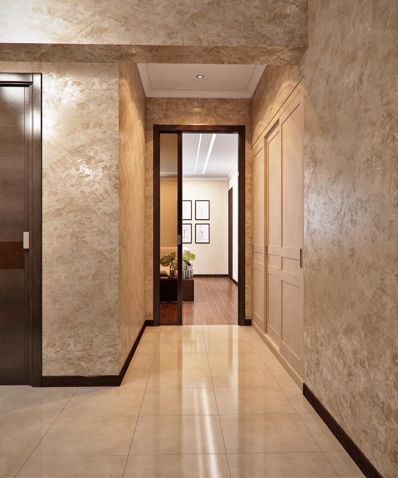 Дизайн коридора с декоративной штукатуркой фото
