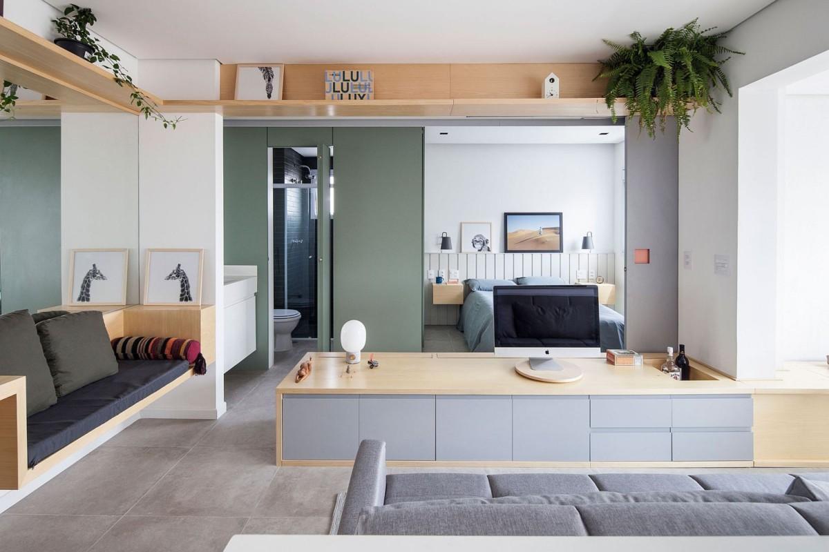 Квартира-студия площадью 32 метра с необычным зонированием