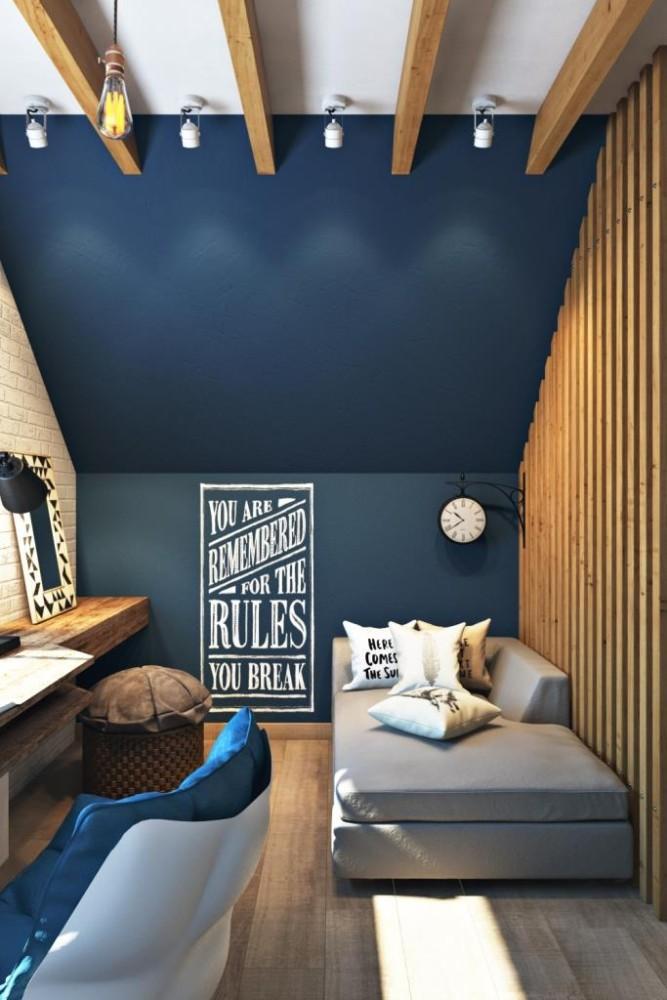 Помимо укромного спального места в этом помещении есть комфортная кушетка, где можно подготовится к экзамену или почитать книгу. По правую руку на стене графитно-магнитный участок стены где можно делать заметки и развешивать свежие фотографии
