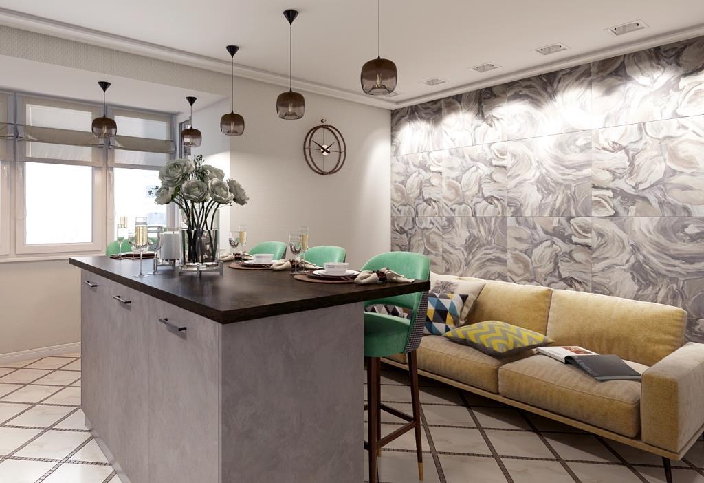 Есть мнение, что керамическая плитка на стенах - это холодно и неуютно. На фото пример, как керамическая плитка может оживить интерьер! В зоне кухни это вдвойне актуально, т.к. позволяет легко следить за чистотой