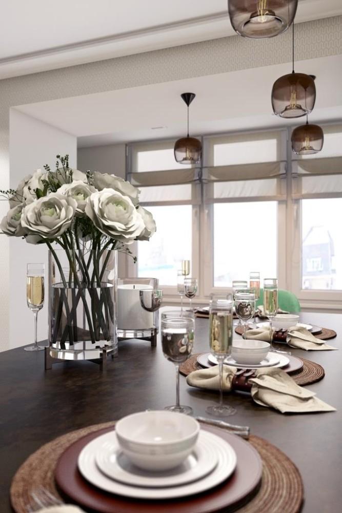 В нашем интерьере, мы объединили не только кухонную и гостиную зону, но и кухню со столовой. А именно - кухонный остров одновременно является и комфортным обеденным столом