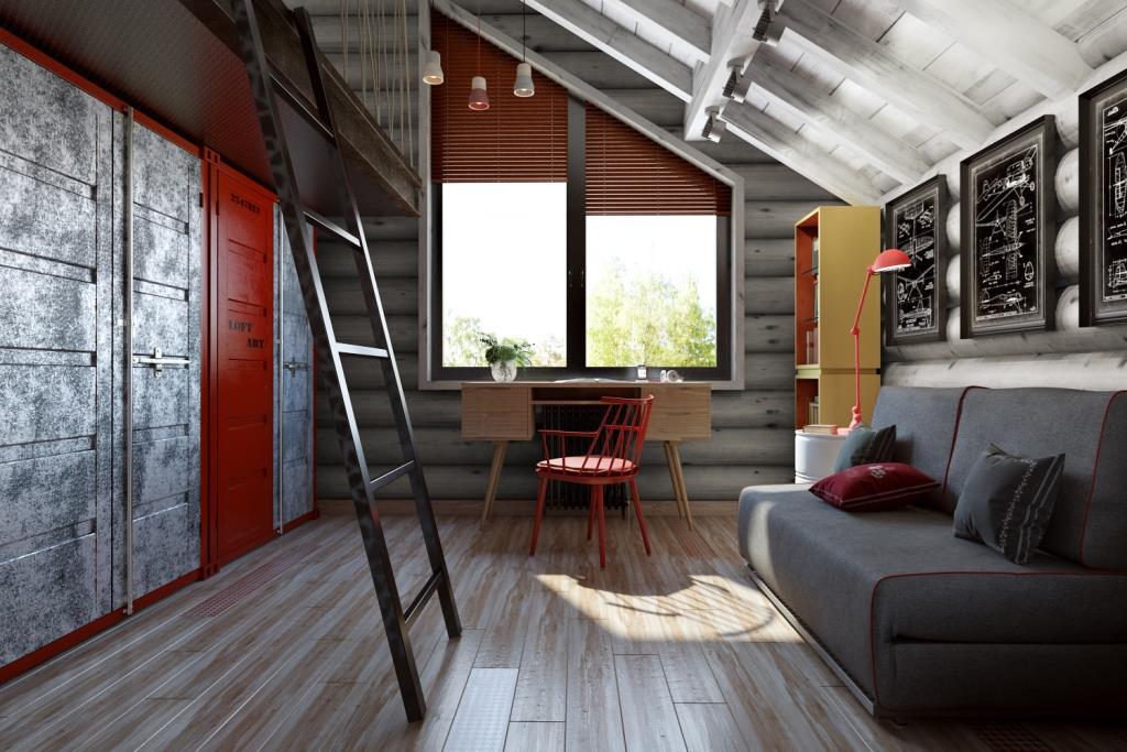 Окно было принято изменить с учетом пропорций комнаты. В наивысшей зоне конька установили кровать-чердак, для равномерного использования пространства