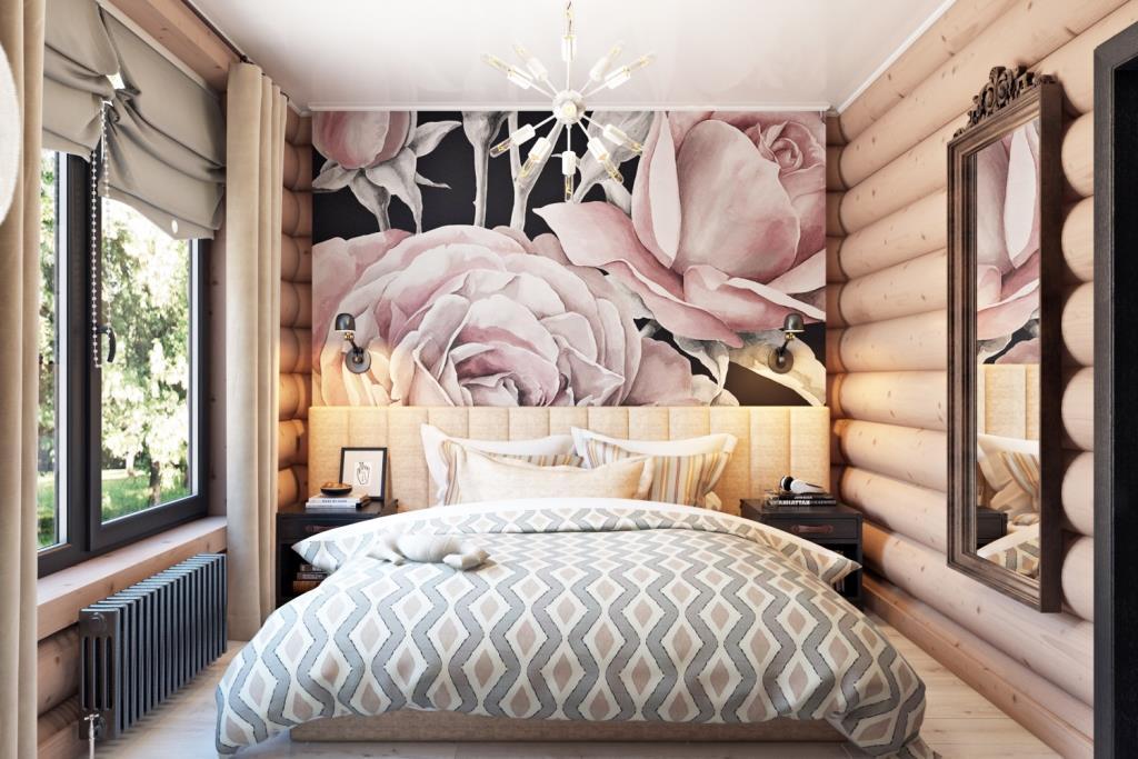 Романтичная, нежная спальная комната для молодой пары с младенцем. Розовый цвет стал изюминкой этого помещения, он украсил и оживил пространство