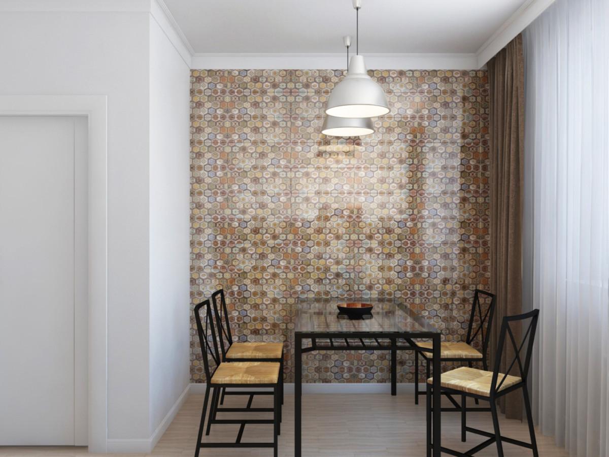 Кухня. Так как стол установлен возле стены, в её отделке используется керамическая плитка — это практичное решение, облегчающее поддержание чистоты.
