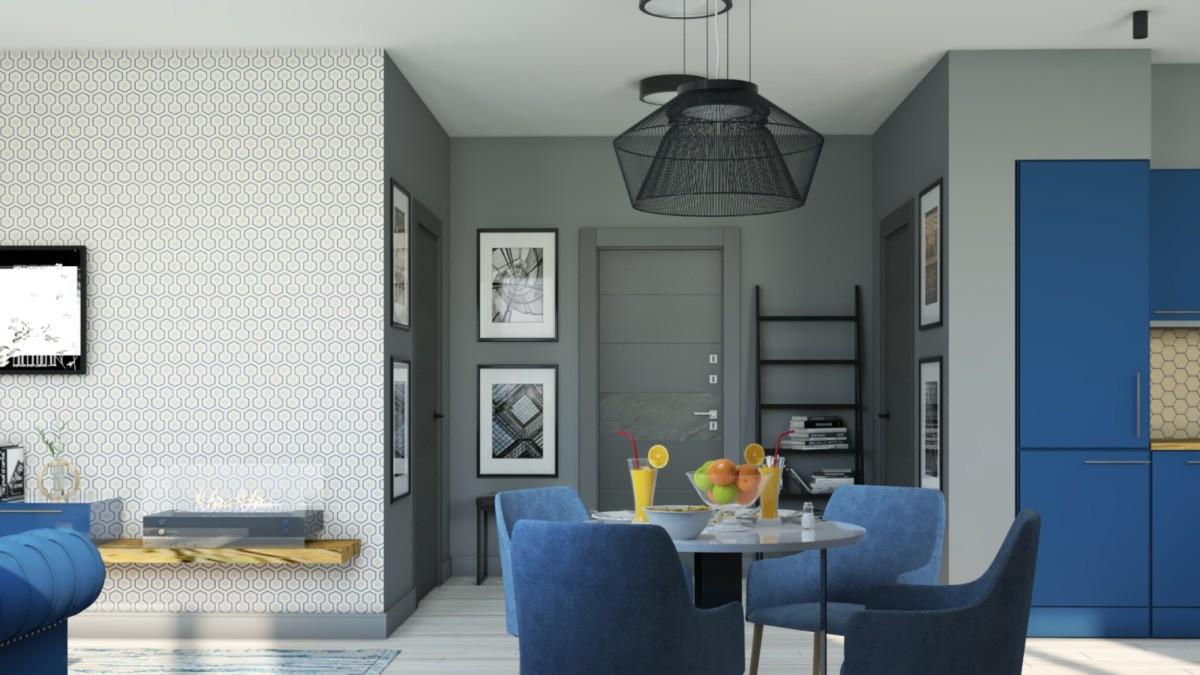 Прихожая: по центру — входная дверь, справа — дверь в ванную комнату, слева — дверь в большую гардеробную. Для сумок предусмотрен необычный стеллаж в виде приставной лестницы (на заказ).