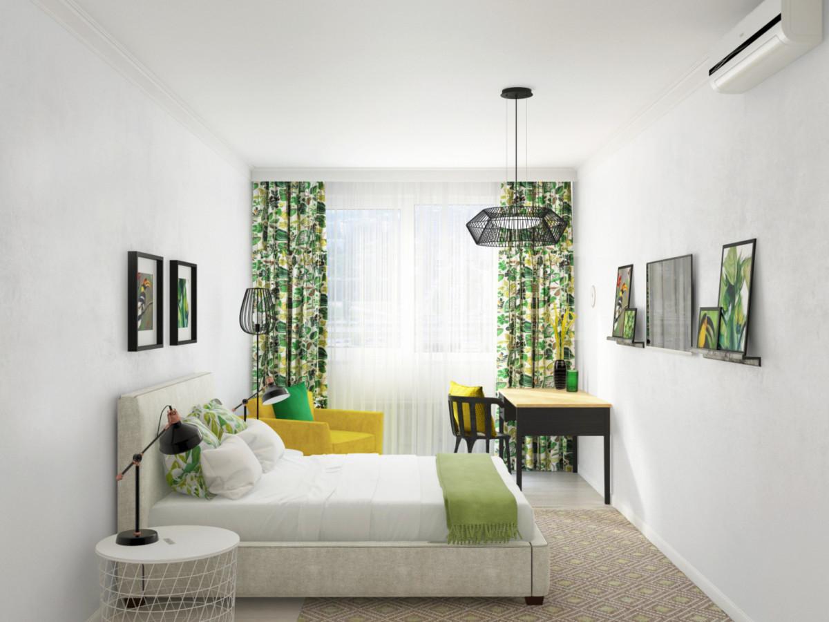 Спальня — нейтральный фон и яркие жёлто-зелёные акценты, которые с лёегкостью можно заменить на любые другие цвета. Возле телевизора расположены полки с постерами, что создаёт интересную композицию.