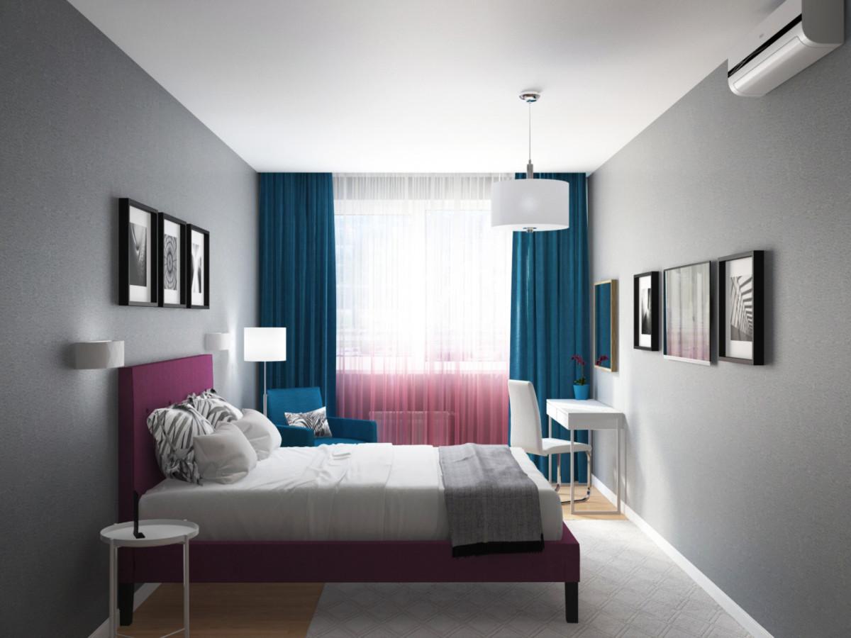 Спальня родителей — строгие формы, яркие цвета на спокойном сером фоне.