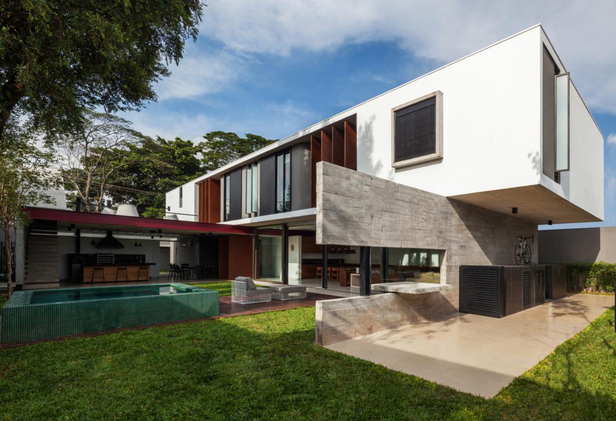 Архитектура в  цветах:   Белый, Коричневый.  Архитектура в  стиле:   Хай-тек.