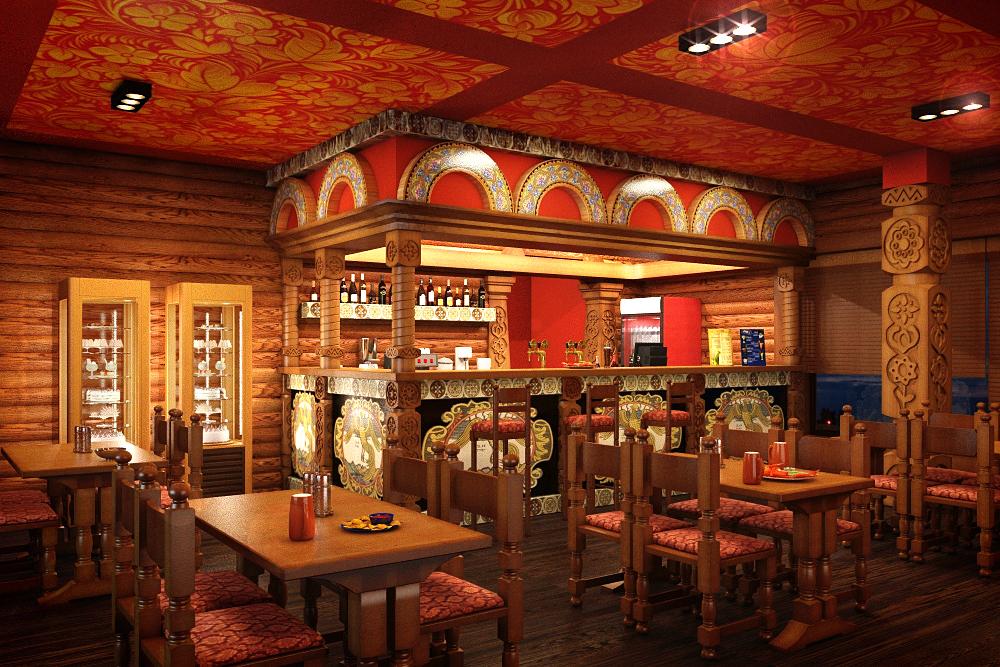 Планировочное решение первого этажа — это бар и технологические помещения кухни. Бар встречает посетителей ресторана первым, поэтому его концепция выполнена в нарочито ярком активном ключе с богатым орнаментальным декором в русском стиле.