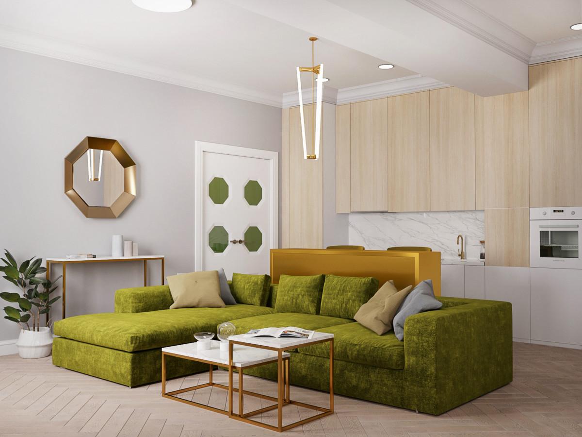 Интерьер в стиле ар-деко, где много сочного зелёного цвета