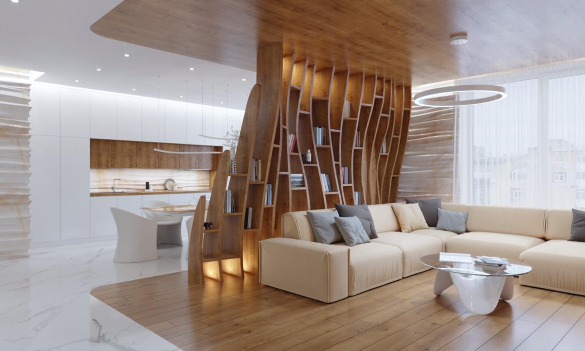 Интерьер трёхкомнатной квартиры со стеллажами и стенами в форме волн