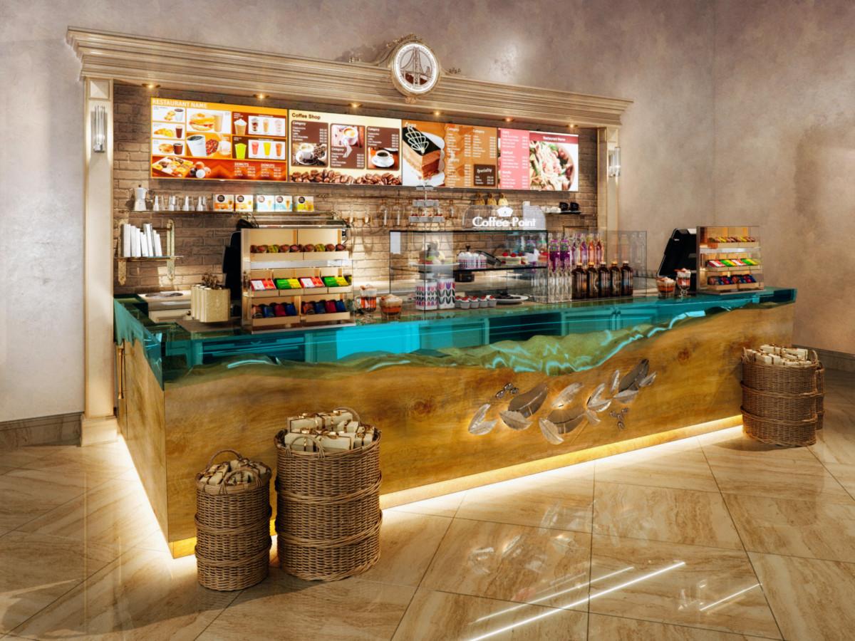 Задняя стенка выполнена из светлого дуба с декоративным тонированием и светлого облицовочного кирпича.