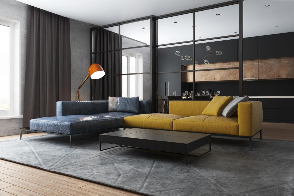 Графичная современная квартира с яркими жёлтыми деталями