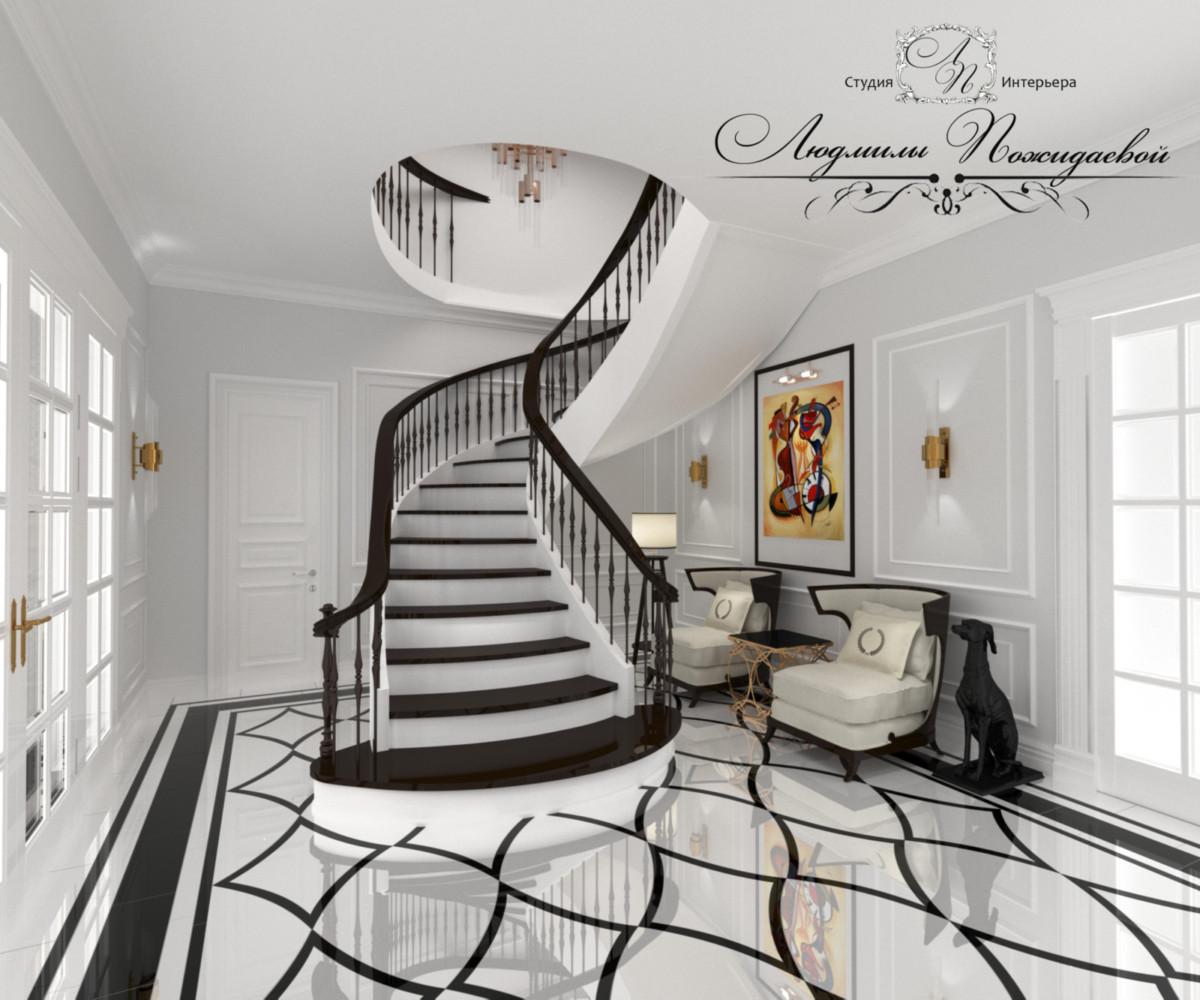 У дачно подобранная люстра в лестничном пространстве подчеркивает парадность лестницы и увеличивает высотиу потолков.