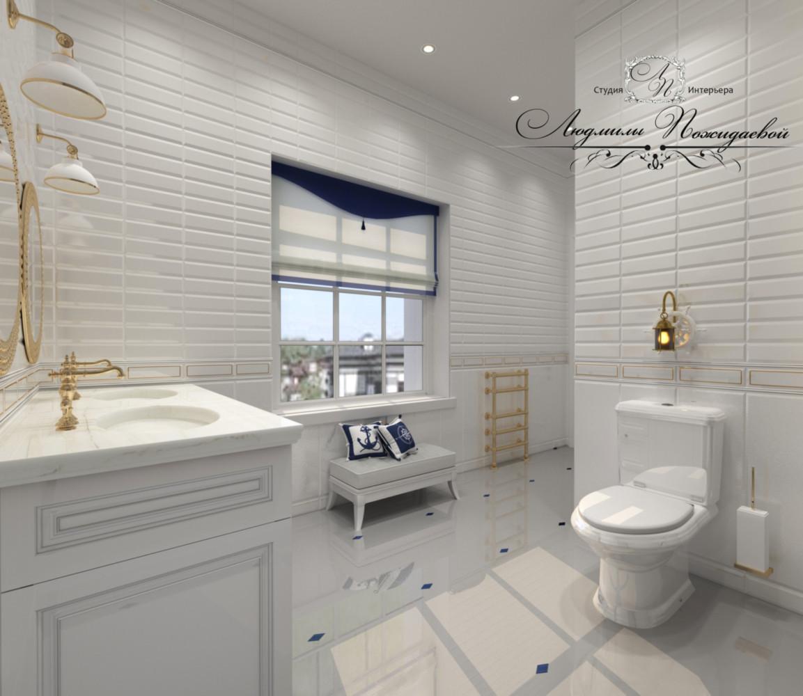 Не забудьте про декор из штор и подушек, банкетка поможет вам переждать, пока ваше чадо плещется в душе или ванной.