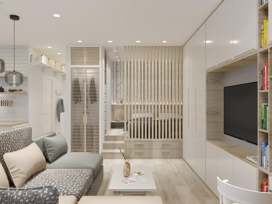 Как разместить гостиную, спальню и кухню на 37 метрах