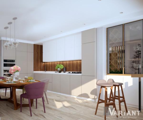 Кухня/столовая в  цветах:   Бежевый, Бордовый, Светло-серый, Серый, Темно-коричневый.  Кухня/столовая в  стиле:   Эклектика.