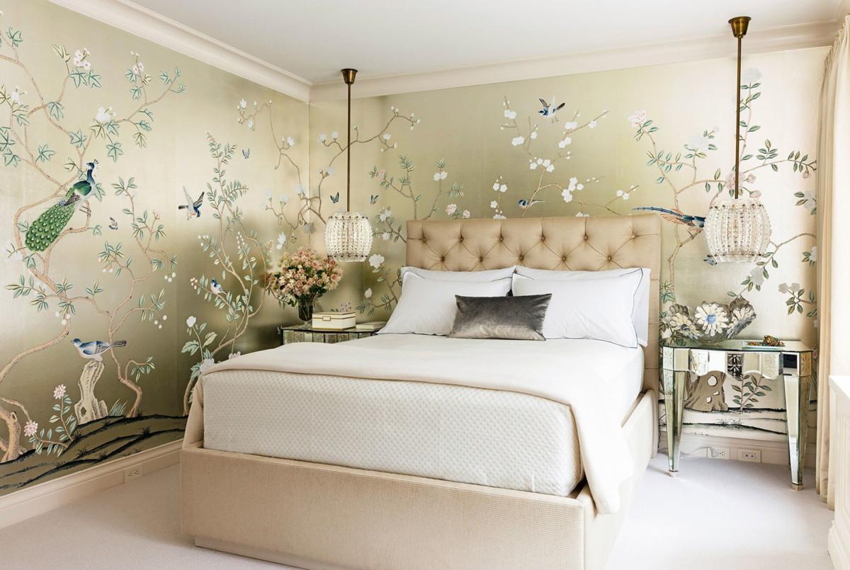 Обои для спальни: 46 фото модных интерьеров