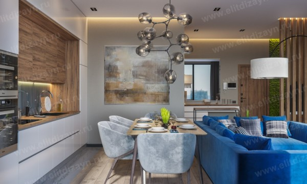 Кухня/столовая в  цветах:   Бежевый, Бирюзовый, Коричневый, Светло-серый, Синий.  Кухня/столовая в  стиле:   Минимализм.