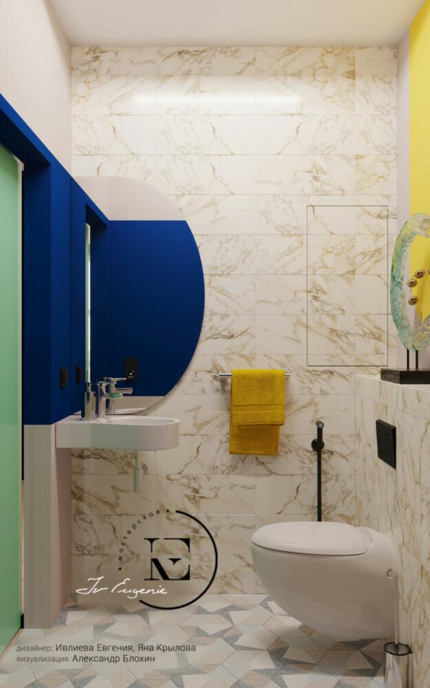 Мы видим светлый санузел в стиле Soleray. Небольшая подвисная раковина не загромождает пространство. Яркие цветовые выкрасы стен хорошо оживляют интерьер. С помощью зеркала можно хорошо поиграть с расширением помещения.